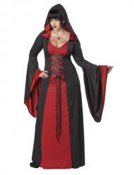 Disfraz vestido maléfica con capucha talla grande mujer