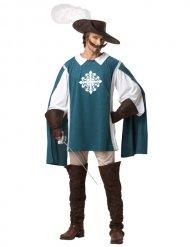 Disfraz de mosquetero azul y blanco hombre