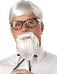 Peluca profesor con barba blanca