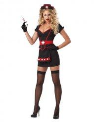 Disfraz enfermera sexy negro y rojo
