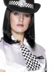 Corbata policía negro y blanco mujer