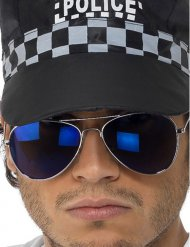 Gafas policía azules oscuras adulto