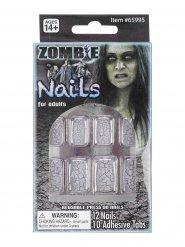 Uñas postizas zombie cuarteado adulto Halloween