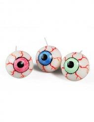3 Velas ojo multicolor 3 cm Halloween