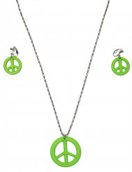 Collar y pendientes hippie verde adulto