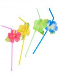 6 Pajitas flores Hawai