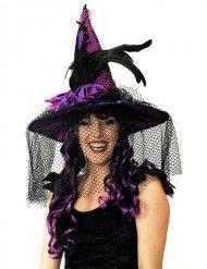 Sombrero satín morado con velo y plumas adulto Halloween