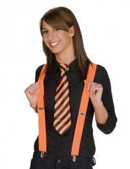 Corbata rayada naranja y nero