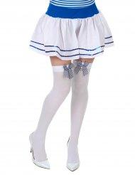 Medias blancas con lazo rayado y ancla marina mujer