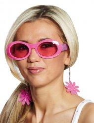Gafas de flores disco rosas