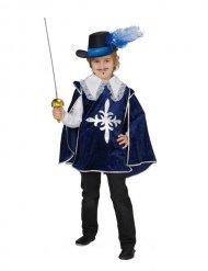 Disfraz mosquetero azul-blanco-plata niño