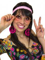 Kit hippie años 60 y 70 mujer rosa