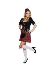 Disfraz escocesa mujer negro dorado rojo