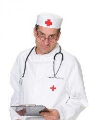 Cofia de doctor rojo y blanco