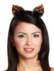 Diadema orejas de leopardo mujer negro marrón