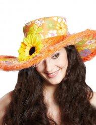 Sombrero hippie colorido con flor