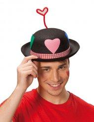 Sombrero de payaso con corazón adulto