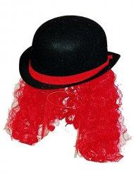 Sombrero payaso con pelo negro y rojo