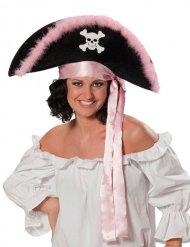 Sombrero pirata negro y rosa mujer