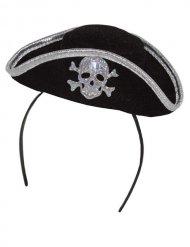 Diadema mini sombrero pirata calavera