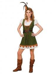 Disfraz Edad Media Arquero mujer verde-blanco-marrón