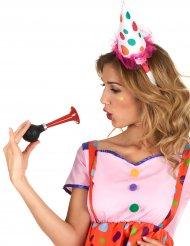 Diadema mini sombrero payaso tul rosa adulto