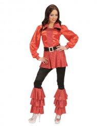 Túnica mujer disco años 70 rojo