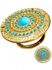 Anillo dorado con piedras azules mujer