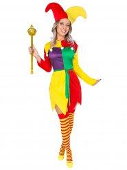 Disfraz bufón arlequín mujer multicolor