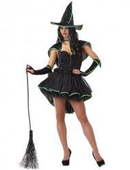 Disfraz bruja sexy negro y verde mujer