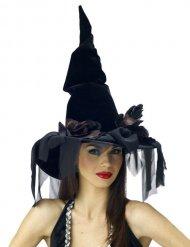 Gorro de bruja negro con velo Halloween