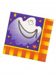 Servilletas de papel para Halloween violeta-naranja-blanco 33x33 cm.