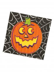 16 Servilletas de papel para Halloween naranja-negro 33 x 33 cm