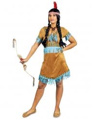Disfraz india con flecos turquesa mujer