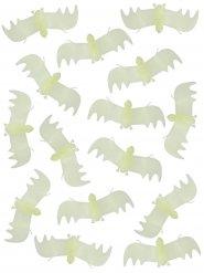 Decoración murciélagos fosforescentes Halloween blancos 13 cm
