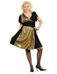 Disfraz disco negro y dorado mujer