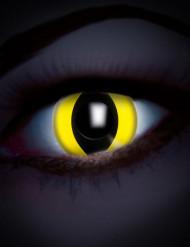 Lentillas fantasía UV ojo reptil amarillo adulto