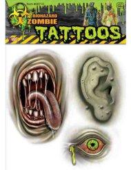 Tatuajes zombie mutante verde Halloween