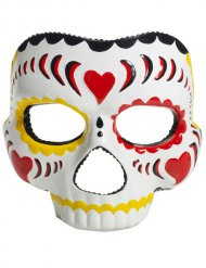 Máscara Día de los muertos blanco- multicolor Halloween