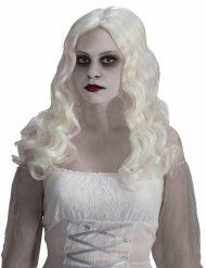 Peluca de fantasma con pelo largo blanco Halloween