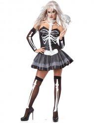 Disfraz mujer esqueleto sexy negro y blanco