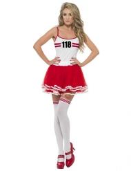 Disfraz Miss Maratón rojo - blanco mujer