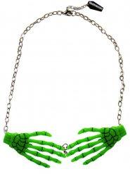 Collar cadena colgante manos esqueleto verde