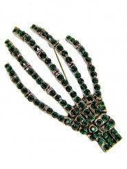 Broche gótico manos de esqueleto verde