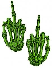 Lote de 2 parches mano de esqueleto dedo levantado verde