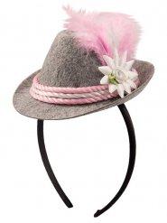 Mini sombrero bávaro gris y rosa mujer