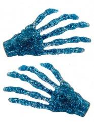 2 Horquillas para pelo manos esqueleto azules