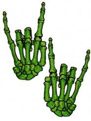 Lote de 2 parches manos verdes esqueletos cuernos