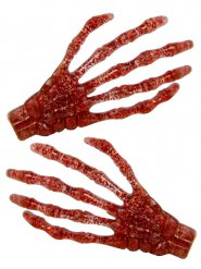 2 Horquillas pelo mano esqueleto rojo purpurina 7 cm