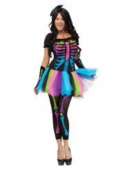 Disfraz esqueleto multicolor mujer Halloween